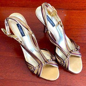 Dolce & Gabbana metallic strappy heels gold bronze